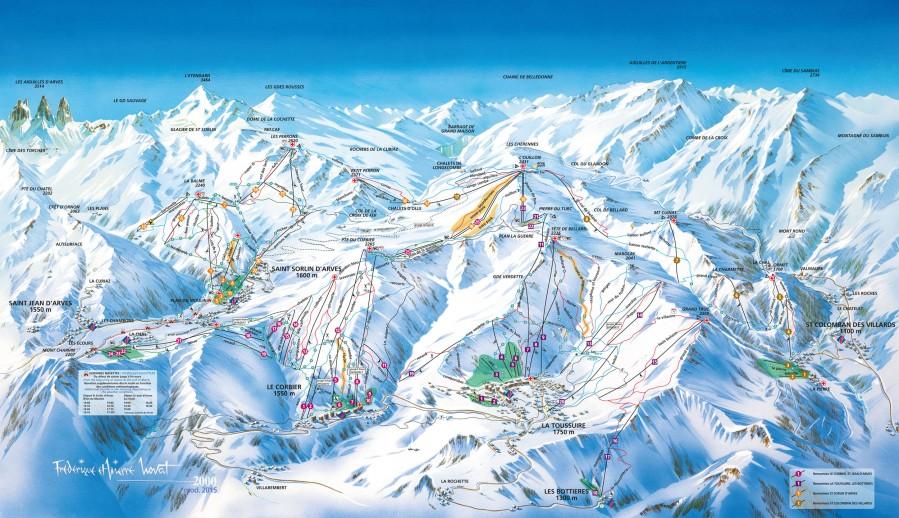 Plan des pistes de La Toussuire - Les Sybelles Bienvenue en Maurienne